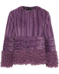 Anna Sui - Woman Paneled Faux Fur Jacket Lilac - Lyst