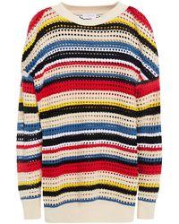 Claudie Pierlot Striped Cotton Open-knit Jumper - White