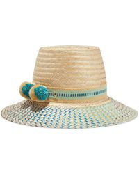 Yosuzi Maira Pompom-embellished Woven Straw Hat - Natural