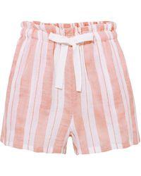 lemlem Doro Striped Cotton-blend Gauze Shorts Baby Pink