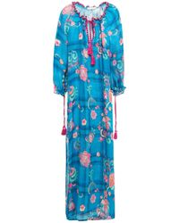Anjuna Off-the-shoulder Crochet-trimmed Printed Linen-gauze Maxi Dress - Blue