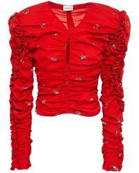 Magda Butrym Konya Ruched Floral-print Silk Crepe De Chine Top - Red