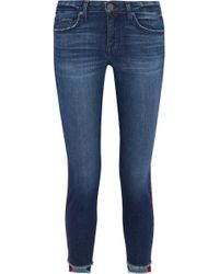 Joie - Woman Bon Voyage Cropped Satin-trimmed Mid-rise Skinny Jeans Mid Denim - Lyst