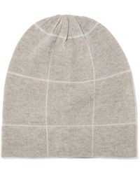 Madeleine Thompson - Woman Ross Checked Wool And Cashmere-blend Beanie Cream - Lyst