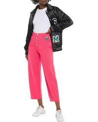 MM6 by Maison Martin Margiela Hoch sitzende jeans mit weitem bein und logo-applikationen - Pink