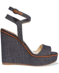 Paul Andrew - Laura Leather-trimmed Denim Wedge Sandals - Lyst