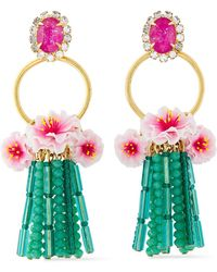 Elizabeth Cole 24-karat Gold-plated Resin, Crystal And Bead Earrings Turquoise - Multicolour