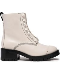 3.1 Phillip Lim Hayett Faux Pearl-embellished Leather Ankle Boots Light Gray