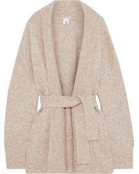 Iris & Ink Katla Belted Brushed Knitted Cardigan Sand - Natural