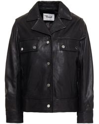 Stand Studio Ruffle-trimmed Leather Jacket - Black