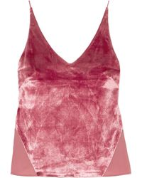 J Brand Lucy Velvet And Chiffon Camisole Antique Rose - Pink