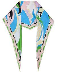 Emilio Pucci Printed Silk-twill Scarf - Blue