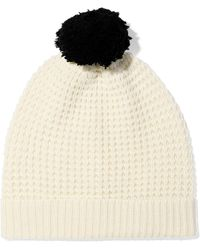 Madeleine Thompson - Woman Monica Pompom-embellished Waffle-knit Wool And Cashmere-blend Beanie Cream - Lyst
