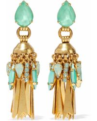 Elizabeth Cole - 24-karat Gold-plated Swarovski Crystal Earrings - Lyst