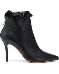 Jérôme Dreyfuss - Jérôme Dreyfuss Ruffle-trimmed Textured-leather Ankle Boots Black - Lyst