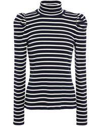 Veronica Beard Ribbed Striped Stretch-pima Cotton-jersey Turtleneck Top - Blue
