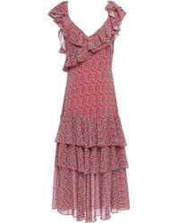 Marissa Webb Ruffled Tiered Georgette Midi Dress Tomato Red