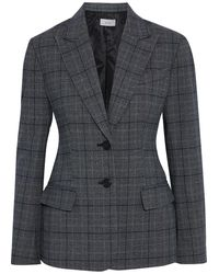 A.L.C. Landis Prince Of Wales Checked Woven Blazer Gray