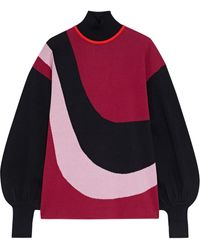 ROKSANDA - Mylo Color-block Jacquard-knit Sweater Crimson - Lyst