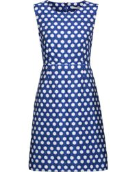 Diane von Furstenberg Carrie Printed Crepe Mini Dress Bright Blue Size 10