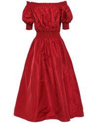 Adam Lippes Off-the-shoulder Shirred Silk-taffeta Midi Dress Claret