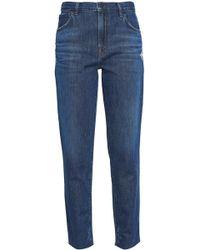 J Brand Doubletake Johnny Distressed Mid-rise Boyfriend Jeans Dark Denim - Blue