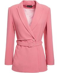 Saloni Maxima Double-breasted Belted Crepe Blazer - Pink