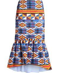 Stella Jean - Fluted Printed Stretch-cotton Twill Midi Skirt Royal Blue - Lyst
