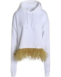Opening Ceremony - Feather-embellished Cotton-blend Jersey Hooded Sweatshirt - Lyst