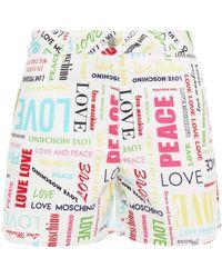 Love Moschino Printed Cotton Shorts - White