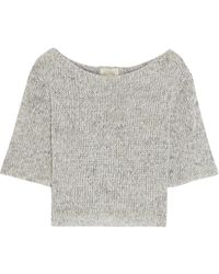 American Vintage Ithaco Cropped Mélange Open-knit Linen-blend Top - Multicolour