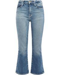 FRAME Le Crop Mini Boot Faded High-rise Kick-flare Jeans Mid Denim - Blue