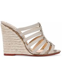 Charlotte Olympia - Woman Cutout Canvas Espadrille Wedge Mules Neutral - Lyst