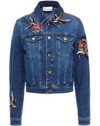 RED Valentino Embroidered Denim Jacket Mid Denim - Blue