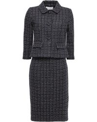 Mikael Aghal Metallic Tweed Skirt Suit Midnight Blue