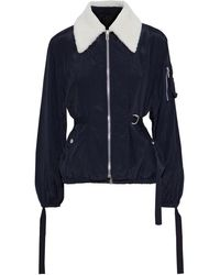 Helmut Lang Shearling-trimmed Strap-detailed Crinkled-shell Jacket Midnight Blue