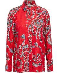 Sandro Hemd aus glänzendem jacquard mit print - Rot
