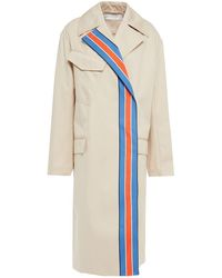 Victoria, Victoria Beckham Striped Cotton-twill Trench Coat - Natural