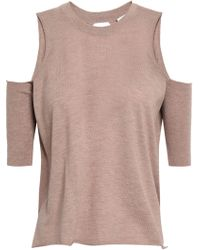 Michelle Mason - Woman Cold-shoulder Wrap-effect Cutout Merino Wool Sweater Taupe - Lyst