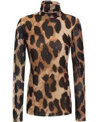 Ganni Leopard-print Mesh Turtleneck Top Animal Print - Multicolour