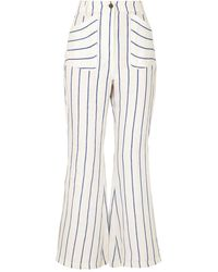 Rosie Assoulin Striped Linen Flared Trousers - White