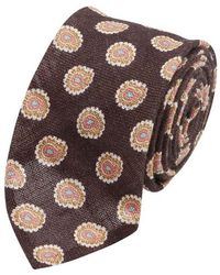 Salvatore Piccolo - Brown Paisley Patterned Silk Tie - Lyst