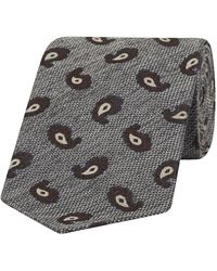 Fumagalli 1891 Gray And Brown Micro-paisley Silk Tie