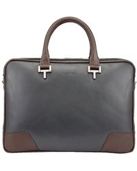 Tusting Chocolate And Pewter Leather Mortimer Briefcase - Grey