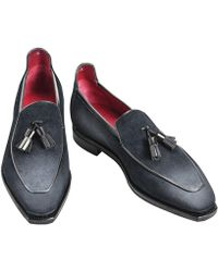 Corthay - Caviar Grey Patinaed Suede Loafers - Lyst