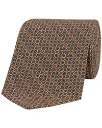 Fumagalli 1891 Blue And Beige Oval Print Silk Tie