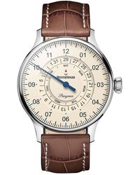 Meistersinger Cream-dial Pangaea Day Date Pdd903 Watch With Croc-print Leather Strap - Brown