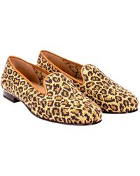 Stubbs & Wootton Gold Leopard-patterned Velvet Needlepoint Slippers - Yellow