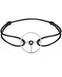 The Mechanists Sterling Silver On Black Silk Cord Revival Steering Wheel Bracelet