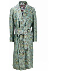 New & Lingwood Grenn Art Nouveau Unlined Silk Dressing Gown - Multicolor